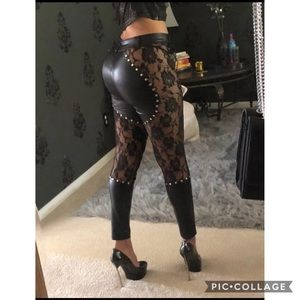 Leatherette and lace leggings